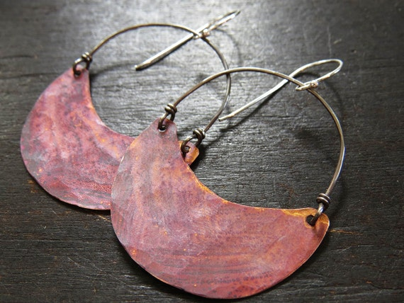 Medium Copper Crescent Earrings