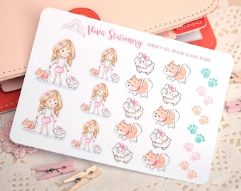 Happy Kawaii Girl Walking the Dogs and Puppies Decorative Stickers ~Valerie~ For your Life Planner, Diary, Journal, Scrapbook...