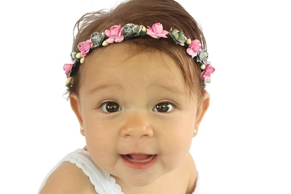 Baby Girl Crown, Birthday Girl Crown, Flowers Crown, Summer Headband, Pink Headband, Infant Headband, Flowers Headband, Birthday Crown