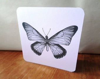 Butterfly greeting card handmade 15cm x 15cm black and white pattern