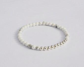 Silver and White Howlite Stretch Bracelet