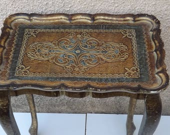 Florentine style wood table / gold, Brown and blue color / Italy 1950