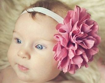 Vieux Rose & bandeau crème - Ivoire rose foncé fleur fille nouveau-né bébé Infant Toddler - mariage dentelle fleur de mousseline de soie-
