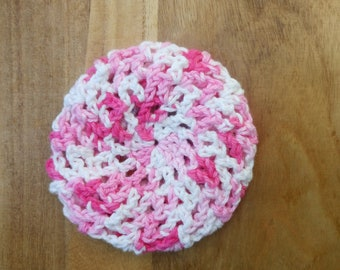 Bun cover – ballet bun cover - crochet bun cover - pink and white bun cover – hair net - bun net
