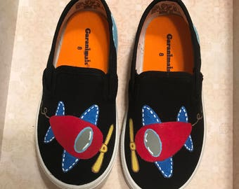 Airplane Hand Painted Shoes