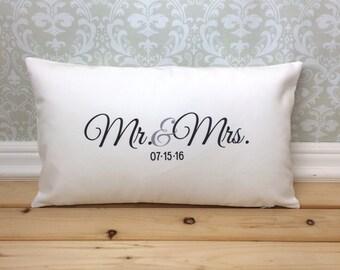 Mr. & Mrs. Pillow, Lumbar Pillow, Wedding Pillow, Anniversary Pillow, Personalized Pillow, Wedding Gift Pillow, Bedroom Pillow