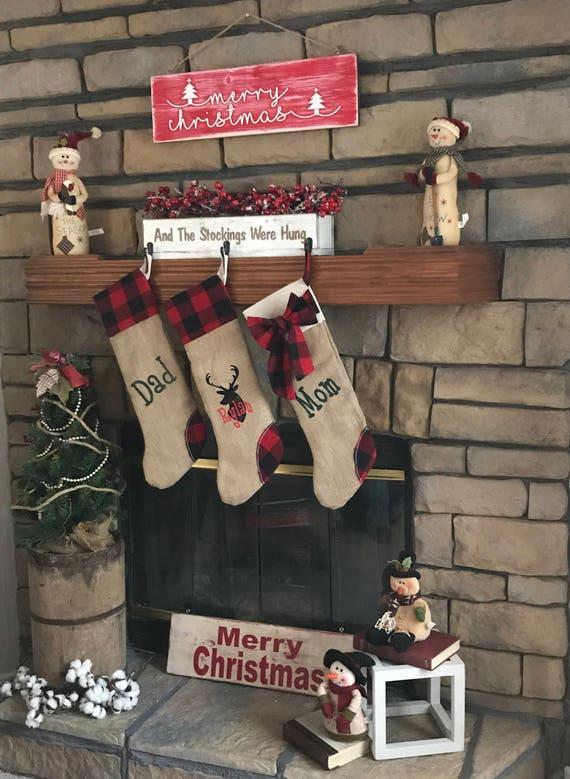 Rustic Christmas Stocking, Farmhouse Christmas Stocking, Custom Christmas Stockings, Christmas Stocking Personalized, Burlap Stocking, Plaid