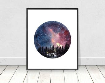 Downloadable Cabin on the Mountain Top with Galaxy Night Sky Painting- Watercolour Home Decor Wall Art Print - 8X10- 16X20 Printable Prints