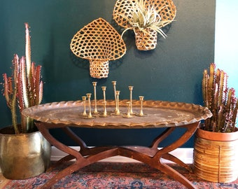 vintage brass tray table large oval spider leg wood base boho coffee table