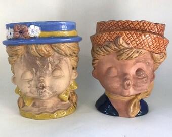 Pair of Vintage Wall Pocket Headvases Head Vases