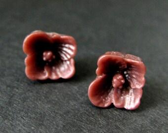 Maroon Dogwood Flower Earrings. Dark Red Flower Earrings. Maroon Earrings. Silver Post Earrings. Dogwood Blossom Earrings. Handmade Jewelry.
