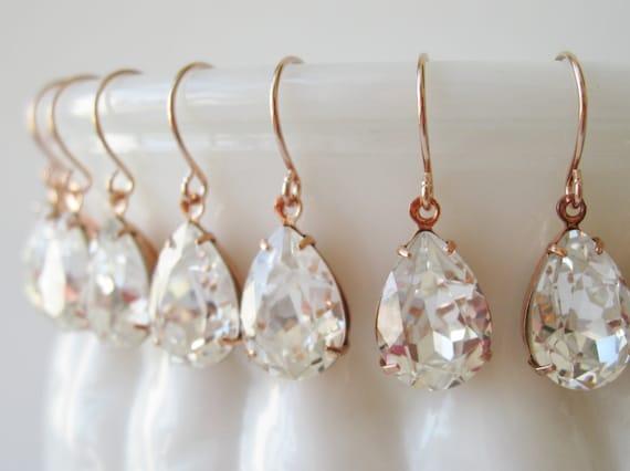 Bridesmaid Earrings set of 5 Crystal Rose Gold Plated Teardrop Earrings Bridesmaid Jewelry Vintage Style Wedding Bridal Earrings Nickel Free