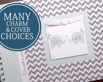 TWIN Baby Shower Guest Book | Guestbook | Personalized Baby Shower Book | Twins | Twin Elephants | Gray Chevron + Blue