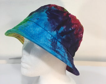 Children's rainbow tie dye cotton bucket hat, sun hat.