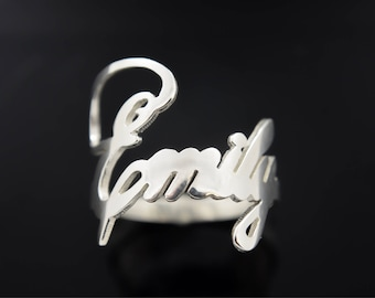 Custom Made Personalized Script Name .925 Sterling Silver Cutout Handmade Ring