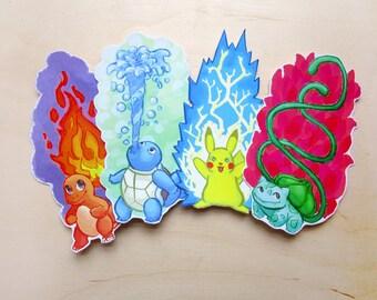 Pokemon Starter Bookmarks (Pikachu, Squirtle, Bulbasaur, Charmander)