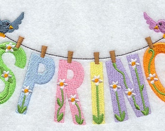 Spring Flowers Clothesline Embroidered Flour Sack Hand/Dish Towel