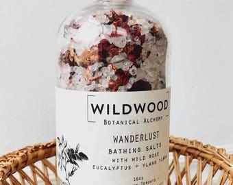 Wildwood WANDERLUST Rose Bath, Bath Salts, Bath Soak w/ Himalayan Salt & Ylang Ylang