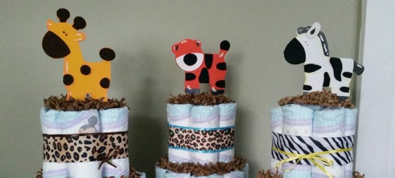 Set of 6 Baby Shower jungle theme diaper cake centerpieces