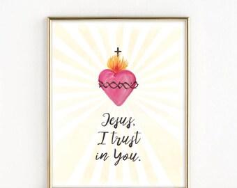 Jesus I trust in You | Divine Mercy Print | Sacred Heart | St. Faustina Print | 8x10 Print