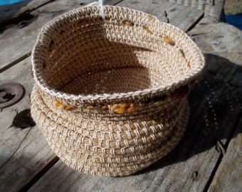 Crocheted basket made from jute, cotton and wool