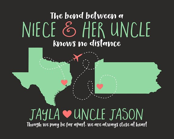 Quotes For Niece From Aunt: Gift For Uncle Niece Quote Map Long Distance Moving Away