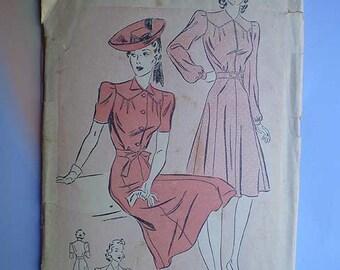 Vintage 40s Puff Sleeve Dress Pattern 30 25 33