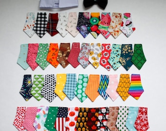 Classy Cat and Dog Handmade Neckties with White Dress Shirt Costume Collar with Velcro (Collar + Pick 3 or more)