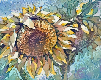 "Silk Painting Picture Sunflower. Original Painting on Silk. One of a kind Artwork. 6"" x 8"" (15 х 20 см.) Ready to ship."