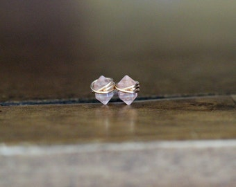 Rose Quartz Studs , Petite Blush Pink Gemstone Post Earrings in Gold , Rose Gold , Sterling Silver , Geometric Natural Stone - Pike