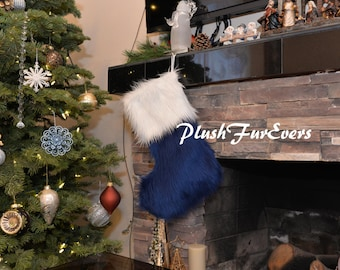 New Arrive PlushFurEver Faux Fur Christmas Stocking Fur Stocking Lodge Cabin Holiday Decor Home Decor Living Ornaments Accents Personalize