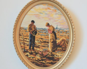 """Gold Oval frame, small tapestry stitch """"Angelus"""" embroidery frame"""