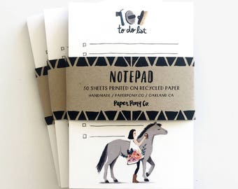 Pretty Pony Notepad To Do List // Whimsical Horse Pony Illustration Girl Floral Gift Organize Notes Recycled Stationery / by Paper Pony Co.