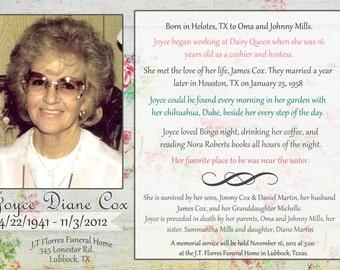 Celebration of Life/In Memory Of/Funeral Program