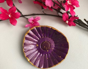 Plum Purple and Gold Ring Dish, Purple Ring Holder, Gold Splatter Ring Dish, Purple Trinket Dish, Catchall Dish, Modern Ring Dish, Under20