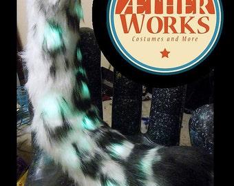Snow leopard tail--NO LEDS, cat tail, leopard Tail, Snow Leopard Tail, Halloween, Fursuit, Party Tail, Big Cat Tail, Furry, Fursuit Tail
