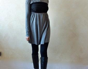 Tunic dress, Sweater dress, Winter dress, Grey dress, Jersey dress, Long sleeve dress, Tunic top, yoga clothes, women clothing, Mini dress