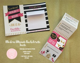 Modern Ultimate Bachelorette Party Weekend/Night Out Invitation -  Lovely Little Party