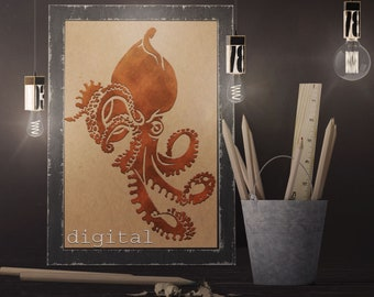 Octopus Digital Download - DXF SVG PNG- Ornament, Accent, or Just Awesome Image