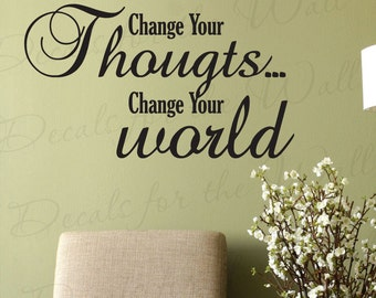 Change Your Thoughts Change World Inspirational Motivational Large Wall Lettering Decal Sticker Decor Vinyl Quote Art Saying Decoration I32