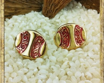 Gold Plated Cufflinks - T Bar Fittings - Oval Embossed Pattern Choice of Plain or with Red Enamel  - Gift Boxed