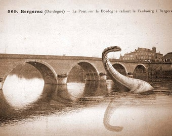 Vintage postcard of the Loch Ness on vacation in Bergerac