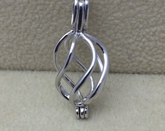 925 Sterling Silver Spiral Pearl Cage Pendant