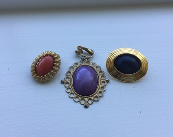 Cabachon Clip On Earrings, 3 Pairs