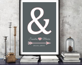 Personalized Print anniversary wedding day mural ' & '
