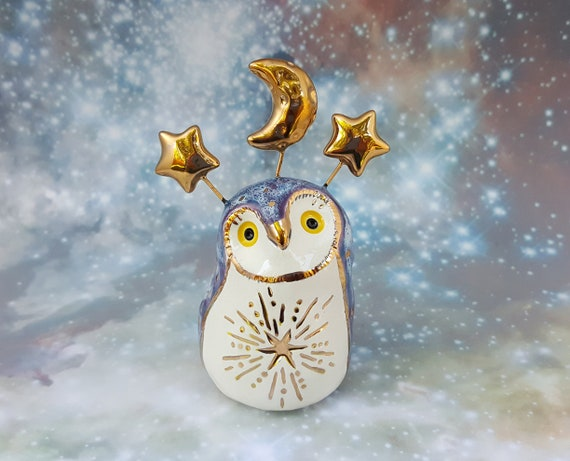 Purple Owl Sculpture with Gold Moon and Stars