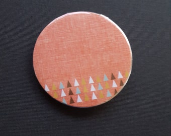 Peach Pin-Back Button with Triangles-2.25 Inch