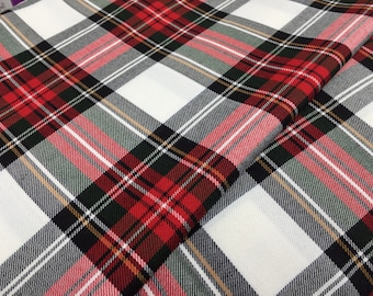 "New Red & white dress tartan viscose 58"" wide sold per metre"