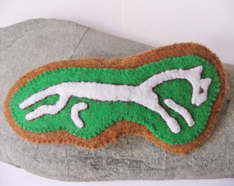 White Horse Eco Felt Hair Clip Barrette - Green Brown - Rhiannon Epona