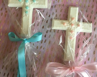 chocolate cross with pearls favors communion baptism confirmation